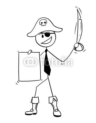 315x400 Cartoon Stick Drawing Conceptual Illustration Of Pirate