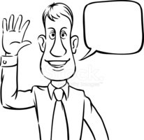 206x200 Whiteboard Drawing Businessman With Speech Bubble Greeting Stock