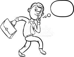 258x200 Whiteboard Drawing Cartoon Sneaking Businessman Finger On Lips