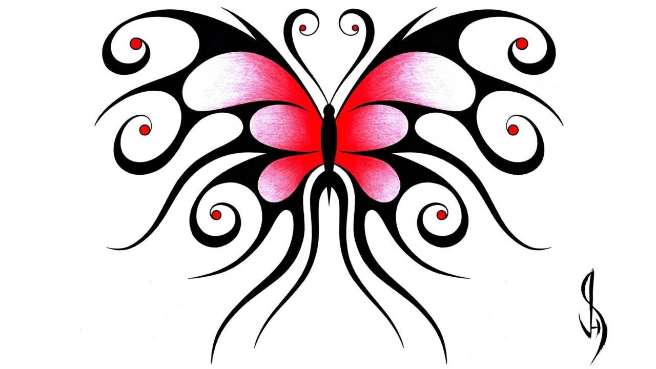 1280x720 How I Draw A Swirly Symmetrical Butterfly Design