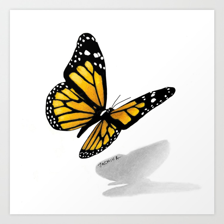 1500x1500 Butterfly Drawing Art Print