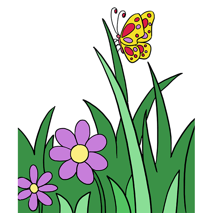 680x678 How To Draw A Butterfly Garden