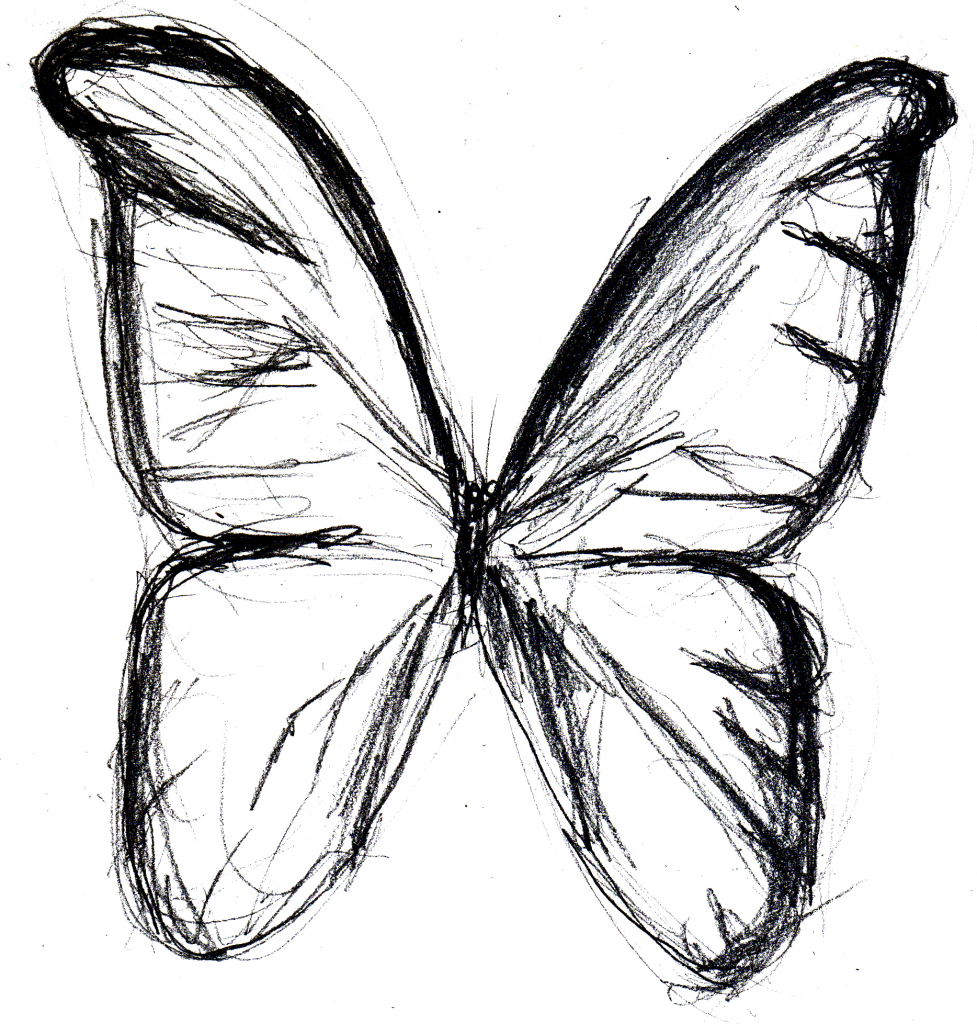 977x1024 Simple Butterfly Drawing Drawings Coloring