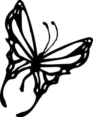310x392 butterfly black and white silhouette png, clipart, black, black