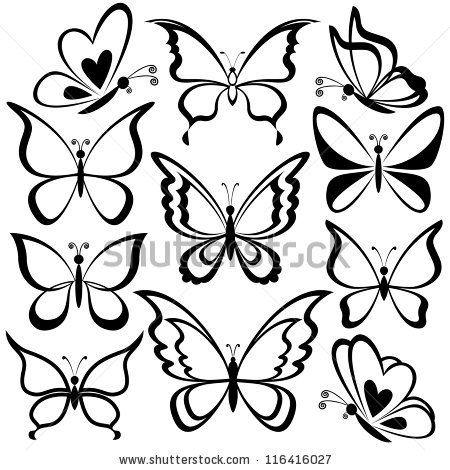 450x470 Various Butterflies, Black Contours On White Background Vector