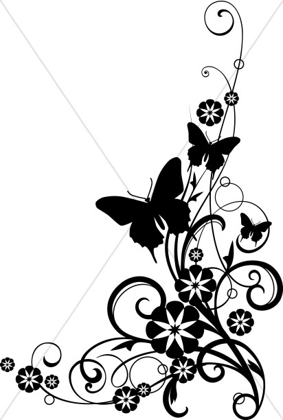412x612 Butterflies With Vine Black And White Clipart Church Flower Clipart