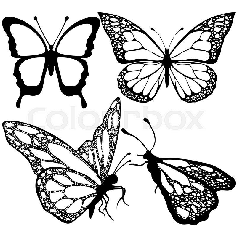 800x800 Butterflies Set, Monochrome, Coloring Stock Vector Colourbox