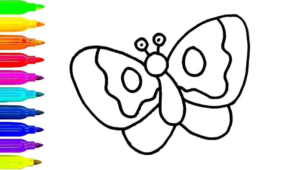1024x576 How To Draw A Butterfly For Children Coloring Book Animals