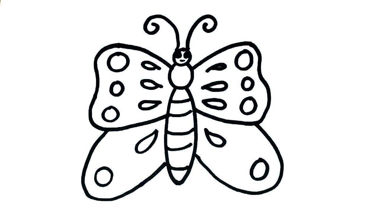 1280x720 How To Draw Butterfly Easy Butterfly Drawing For Kids