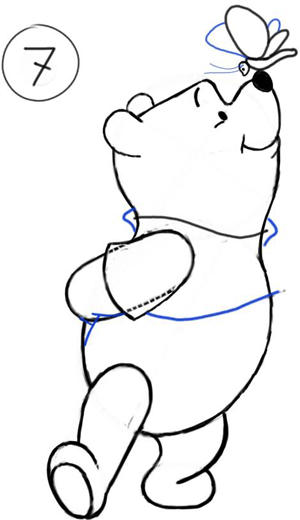 300x520 How To Draw Winnie The Poo And Butterfly With Step