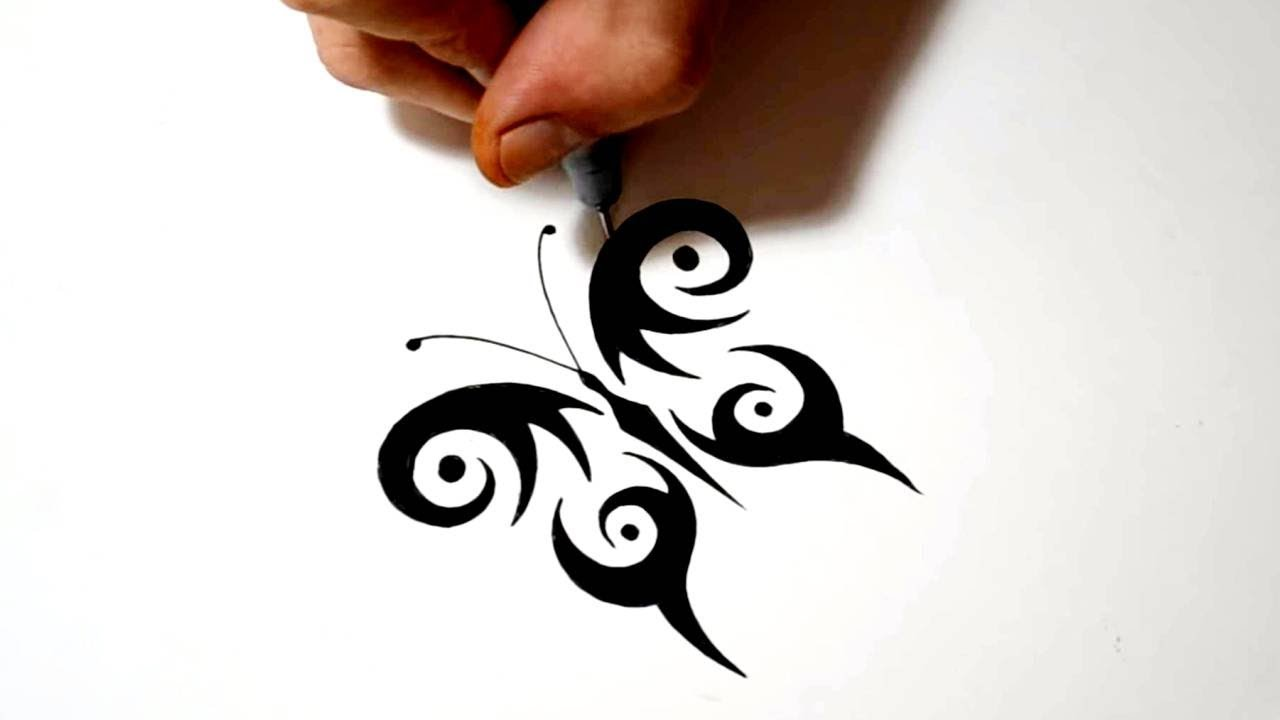 1280x720 Drawing A Simple Symmetrical Tribal Butterfly Tattoo Design