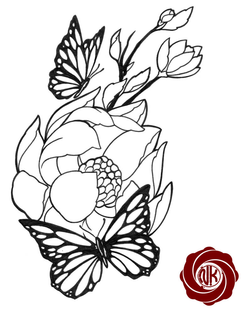 784x1020 Flower Tattoo Sketch With Butterfly
