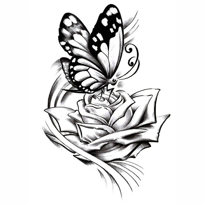 700x700 Inkotattoo Temporary Tattoo Butterfly Butterfly Rose