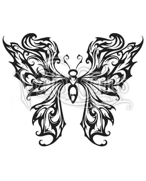 468x580 Tribal Butterfly Wings Tattoo Stock Art