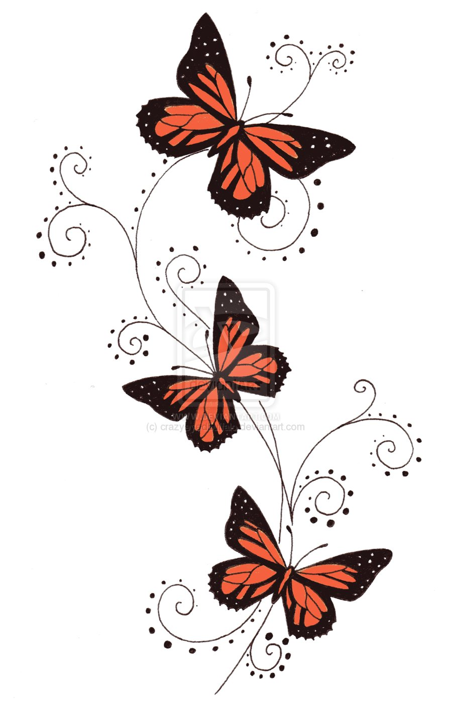 900x1403 Awesome Colored Butterflies Tattoo Design