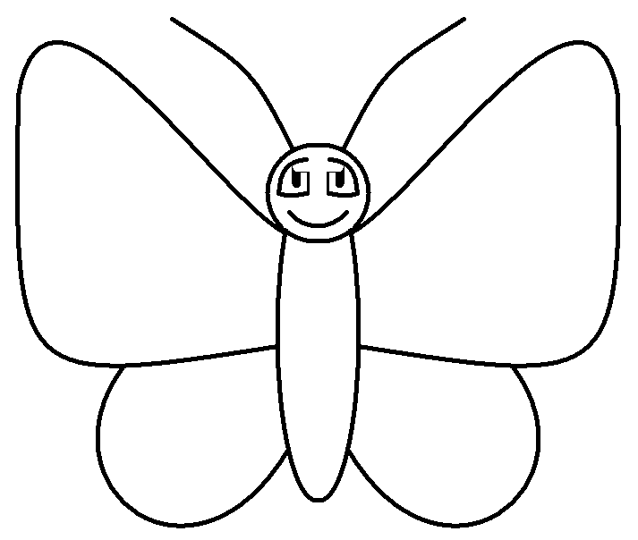 713x604 Butterfly Line Art