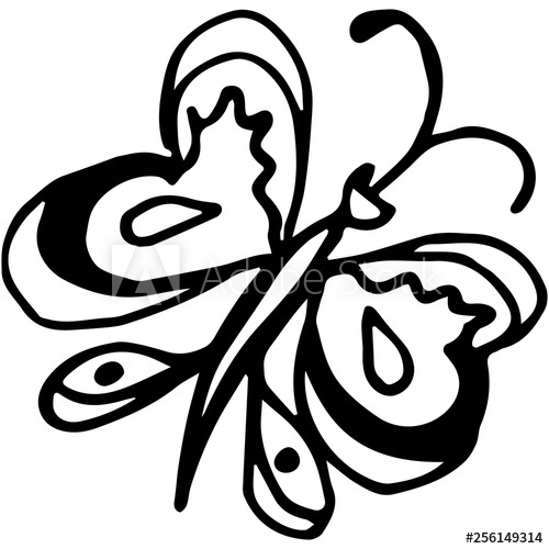 500x500 Flying Butterfly Continuous Line Drawing Element Isolated On White
