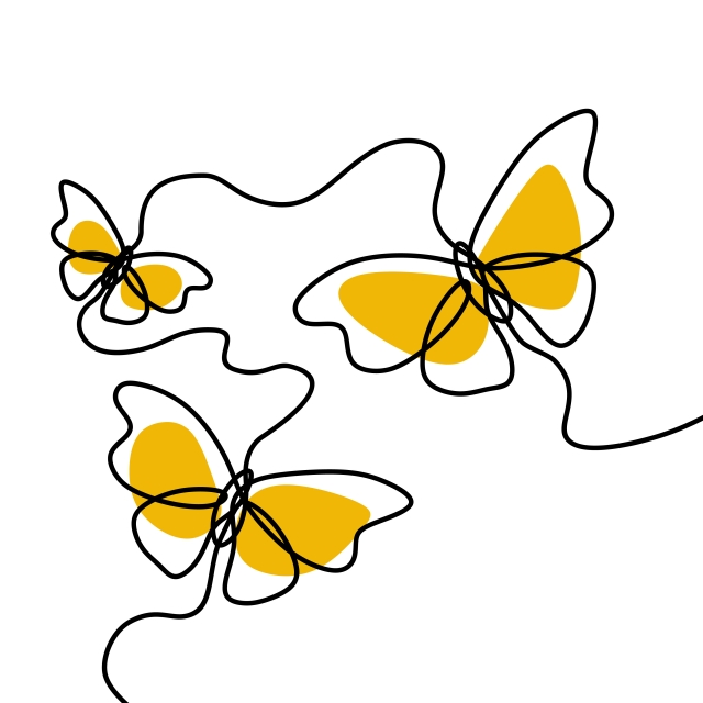 640x640 Simple Butterfly Decorative Continuous Line Drawing Vector