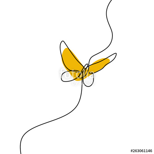 500x500 Simple Butterfly Continuous Line Drawing Vector Illustration