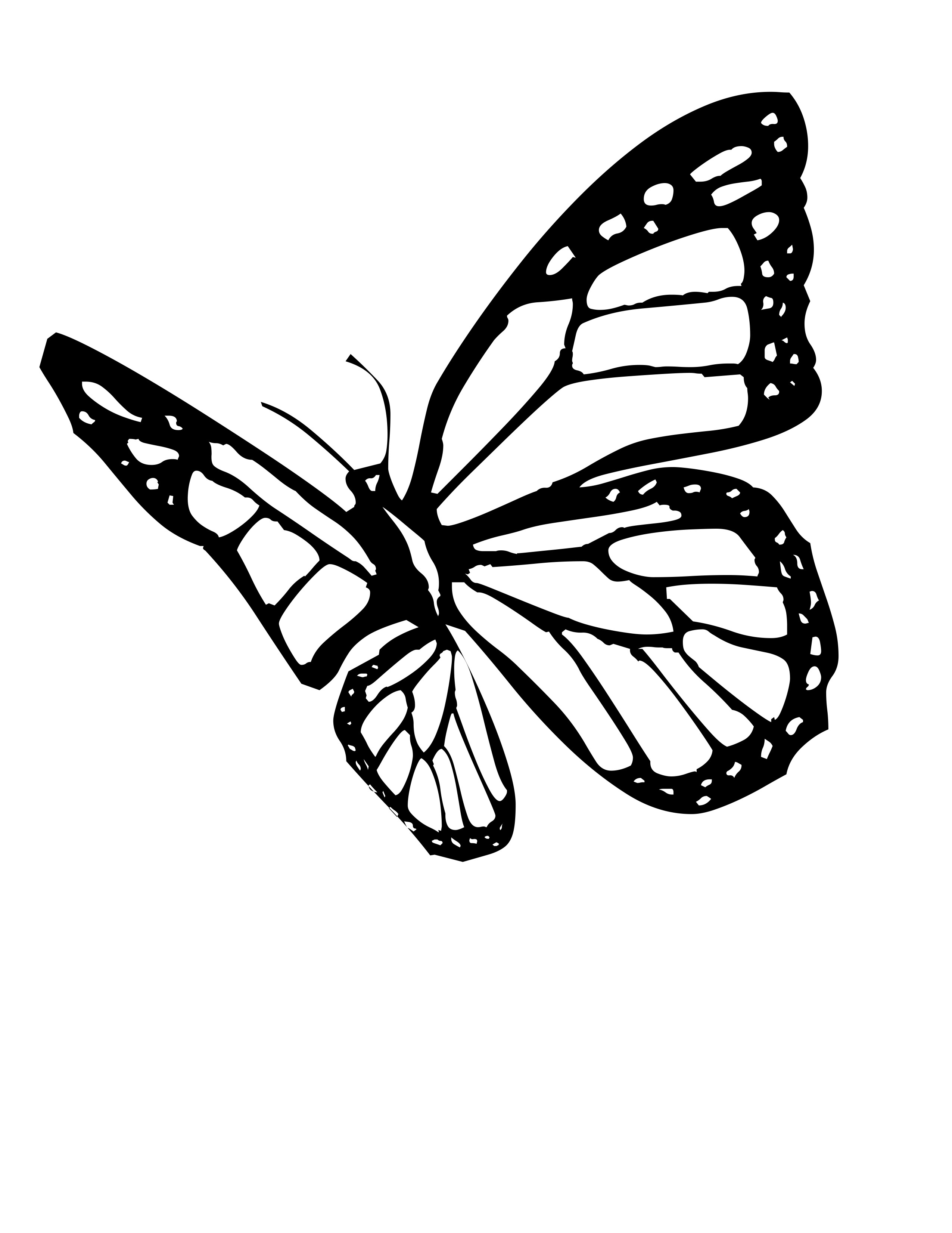 2550x3300 Butterfly Drawing Black And White Clipart