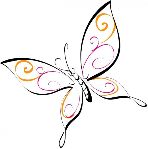 520x522 Butterfly Drawing Clipart