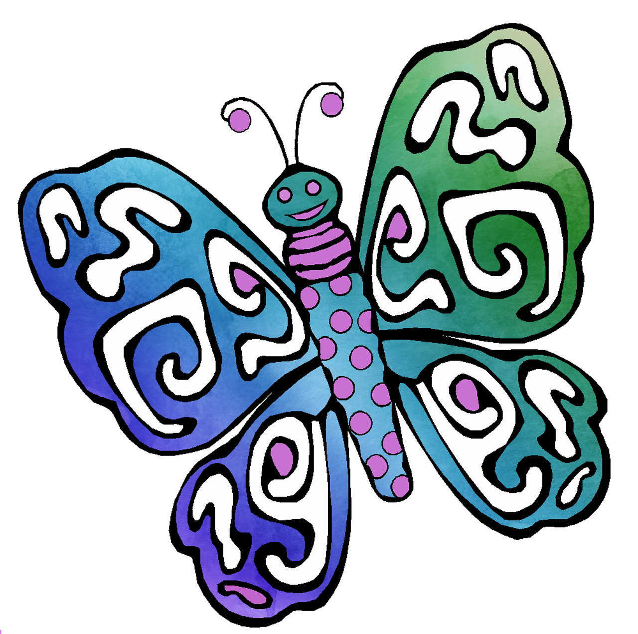 1280x1271 Butterfly, Drawing, Watercolor, Colorful, Kids