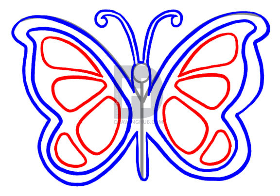 576x404 How To Draw A Simple Butterfly, Step