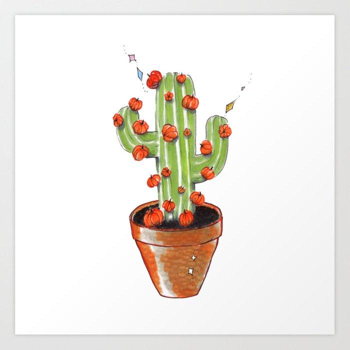 700x700 Cactus Blooming With Pumpkins, Original Copic Drawing Art Print