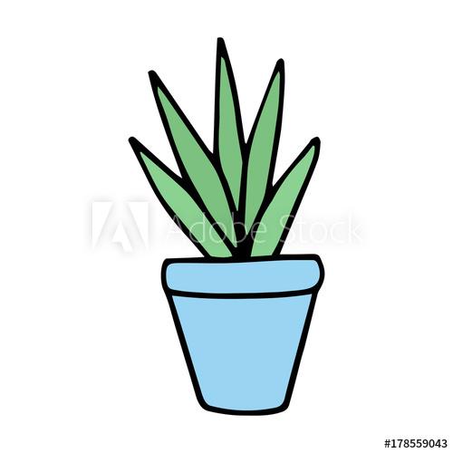 500x500 Cute Little Cacti In Blue Plant Pot Vector Illustration Doodle