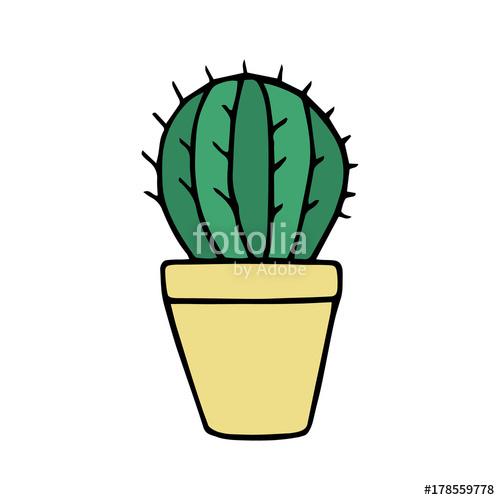 500x500 Cute Little Cactus In Yellow Plant Pot Vector Illustration Doodle
