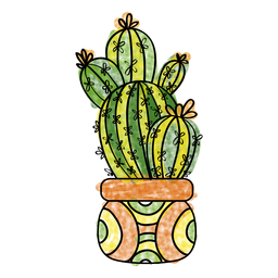 256x256 Hand Drawn Watercolor Cactus Plant Pot In Cactus