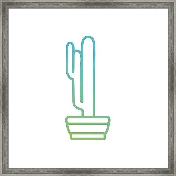 600x600 Cactus Plant Draw Framed Print