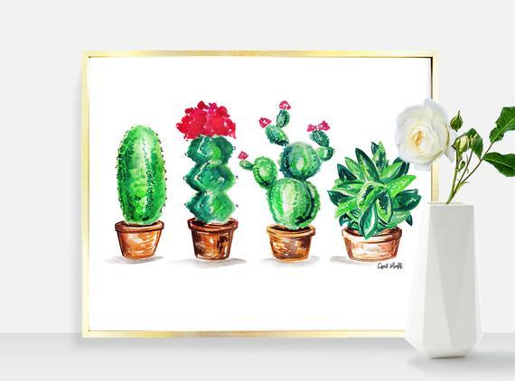 570x422 Cactus Print Illustration Wall Art Plant Drawing Digital Etsy