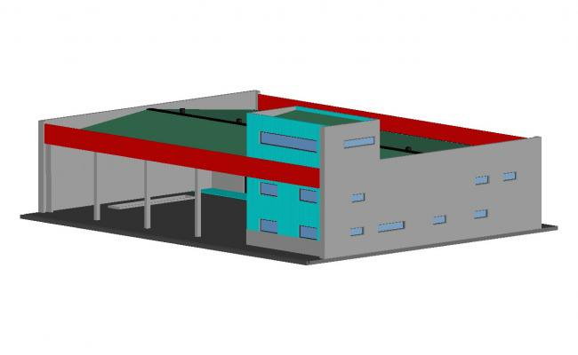 650x400 Corporate Office Building Elevation Cad Drawing Details Dwg