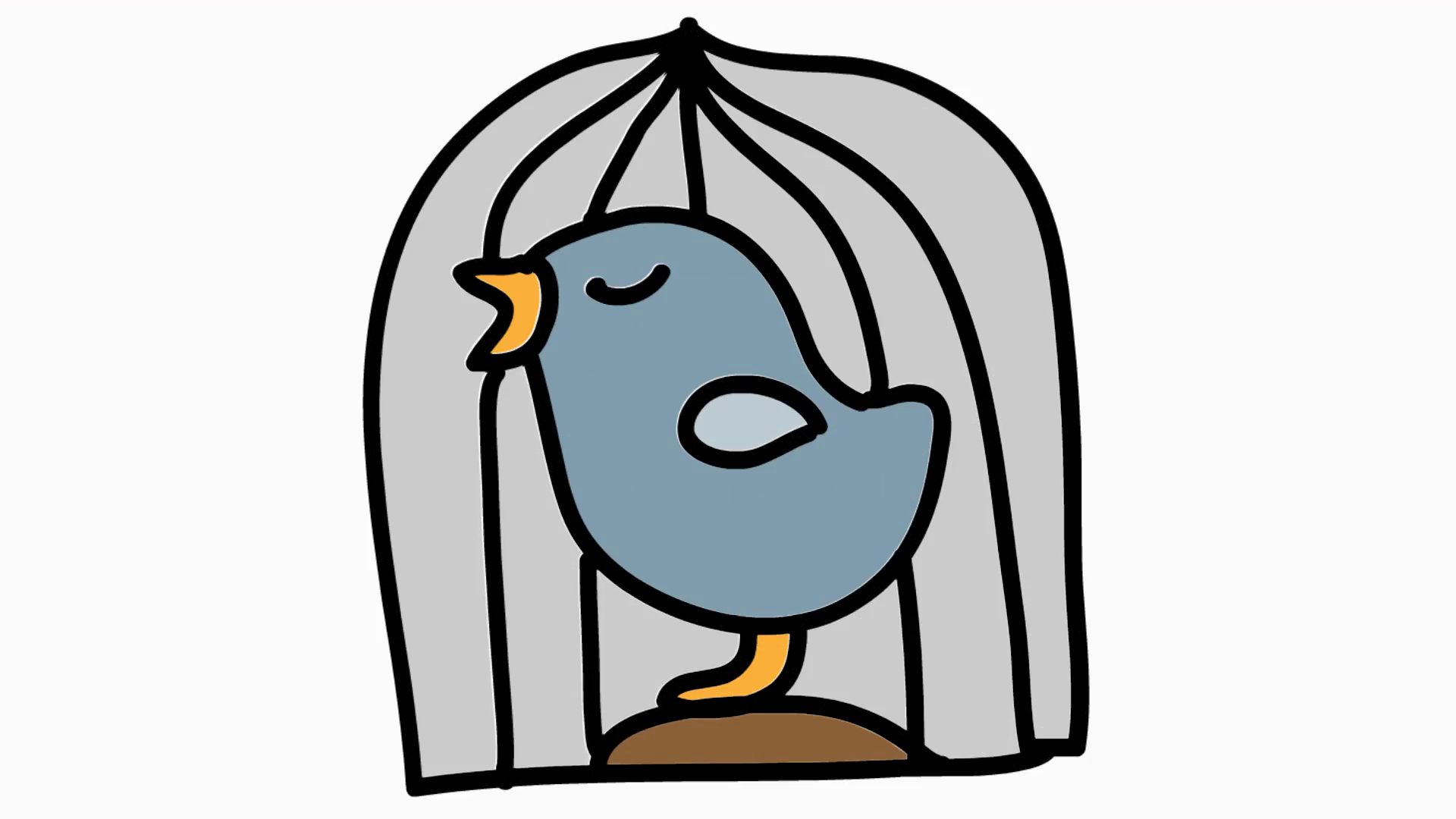1920x1080 caged bird animation with transparent background motion background