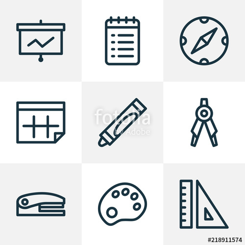500x500 Instrument Icons Line Style Set With Calendar, To Do List, Drawing