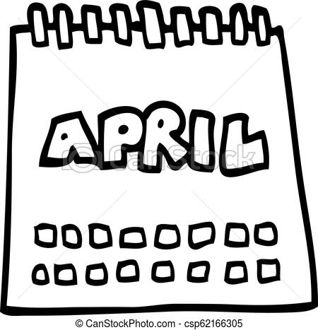 450x467 Line Drawing Cartoon Calendar Showing Month Of April