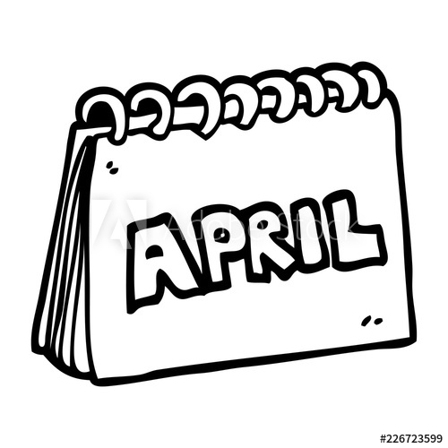 500x500 Line Drawing Cartoon Calendar Showing Month Of April