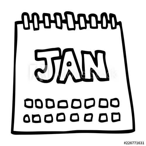 500x500 Line Drawing Cartoon Calendar Showing Month Of January