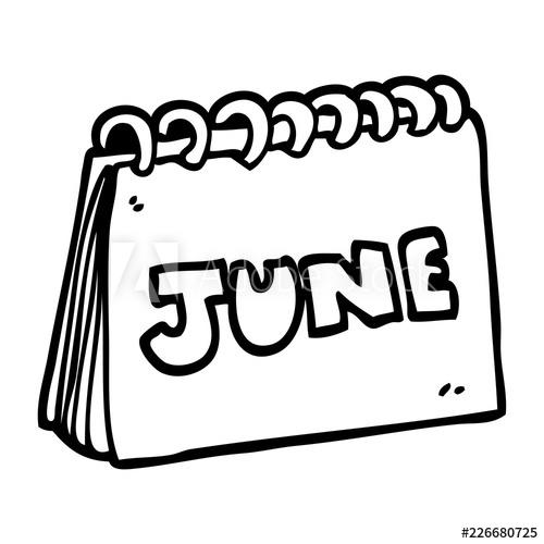 500x500 Line Drawing Cartoon Calendar Showing Month Of June