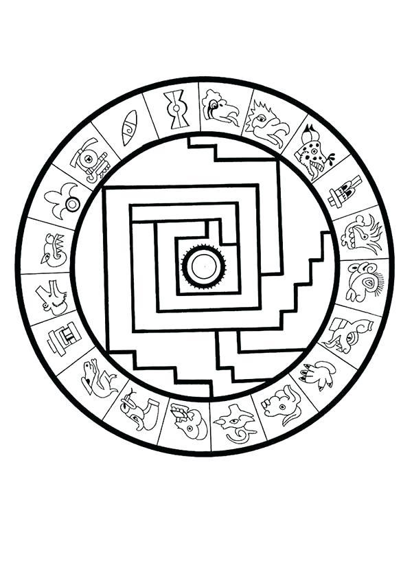 600x849 Aztec Calendar Coloring