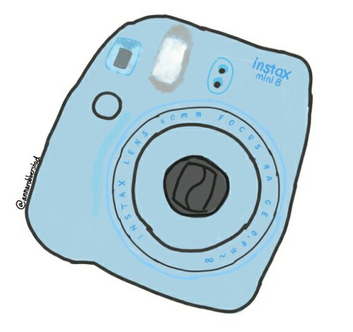 500x470 a drawing of my beloved polaroid camera on we heart it
