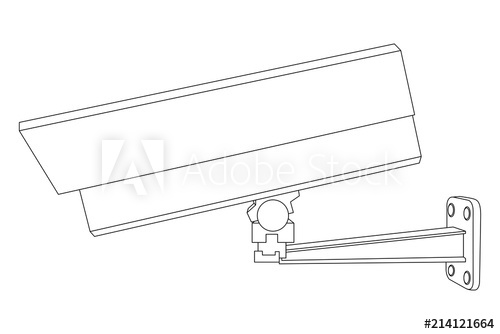 500x334 cctv security camera side view outline drawing
