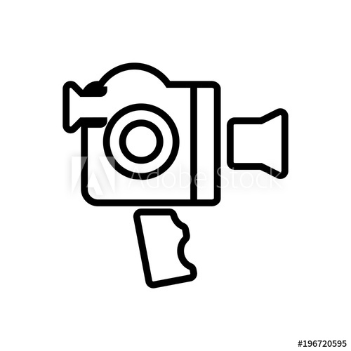 500x500 video camera with handle outlined vector icon, camera with grip