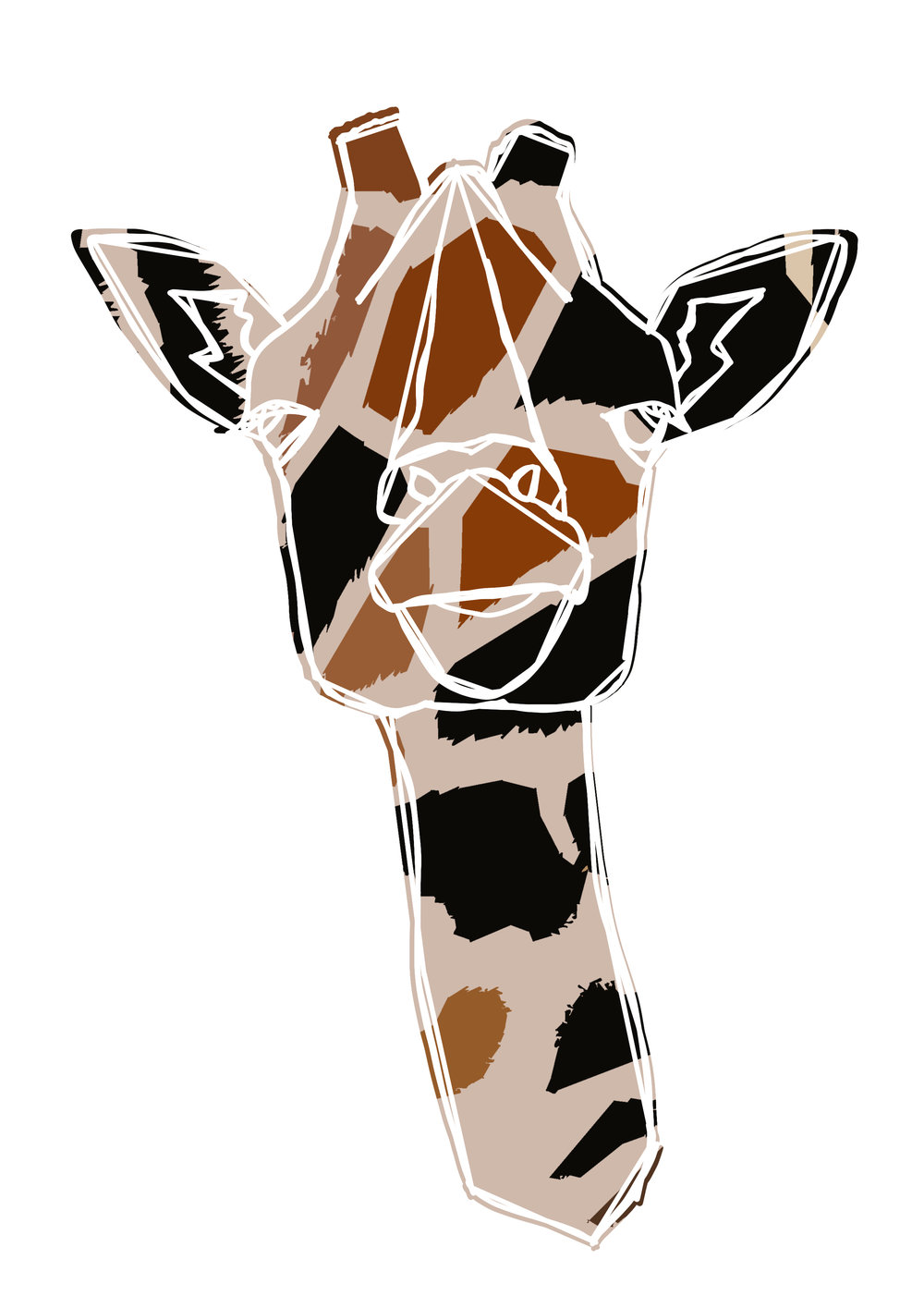 1000x1415 Giraffe Line Drawing Art Print
