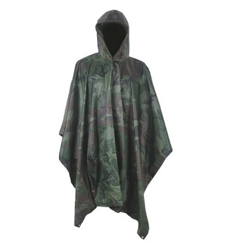 326x350 Woodland Camouflage Rain Poncho With Drawing String Hood
