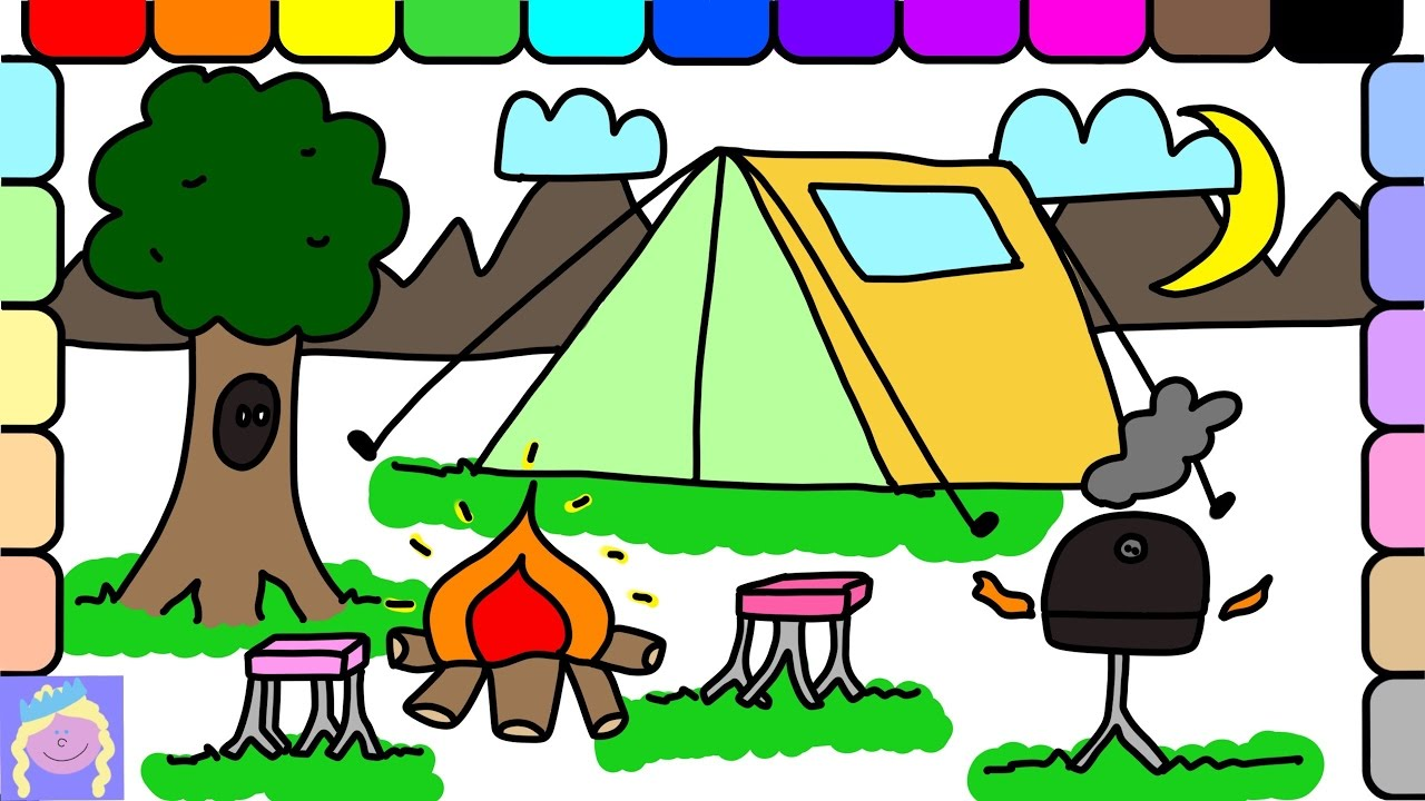 1280x720 Learn How To Draw A Fun Camping Site With This Easy Drawing