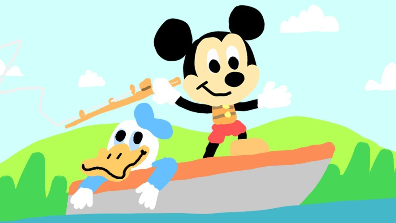 1280x720 Mickey Mouse And Donald Boat And Camping Drawing