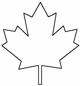 280x300 Happy Canadian Maple Leaf Outline Drawing On Red Stock Vector