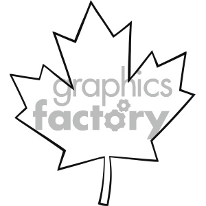 300x300 Royalty Free Rf Clipart Illustration Outlined Canadian Maple Leaf